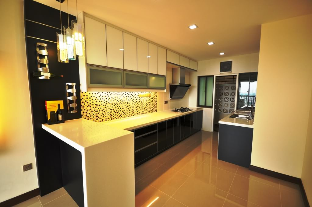 Black and white kitchen with 3g glass as cabinets door for Kitchen door design