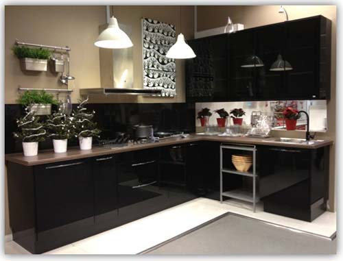 Black Colour L-Shaped Kitchen Cabinet