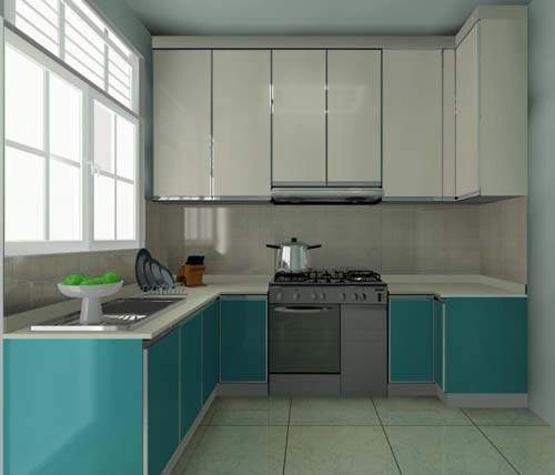 U-Shaped Kitchen Cabinet for Condominium