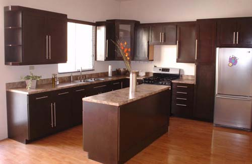 shaped kitchen layout with island brown colour kitchen cabinet