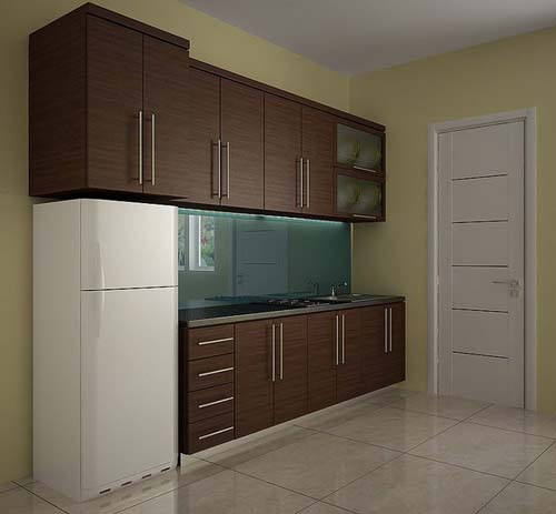 One wall kitchen cabinet design for Single wall kitchen designs