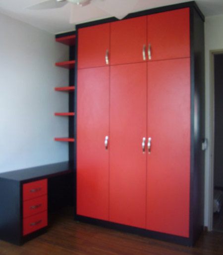 Red wardrobe with side table for Kitchen wardrobe colours