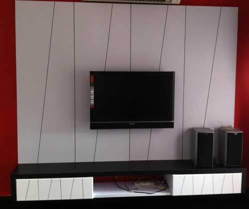 Black And White TV Cabinet Design Kuala Lumpur Malaysia