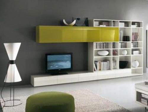 Yellow and White TV Cabinet