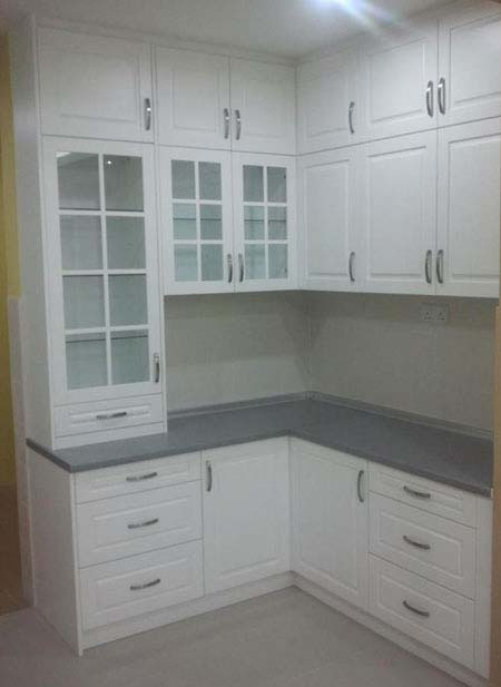 Dry Kitchen - L-Shaped White Kitchen Cabinet
